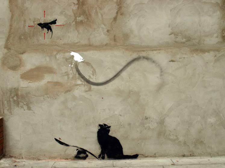 banksy | london | cat | rat | ukingdom